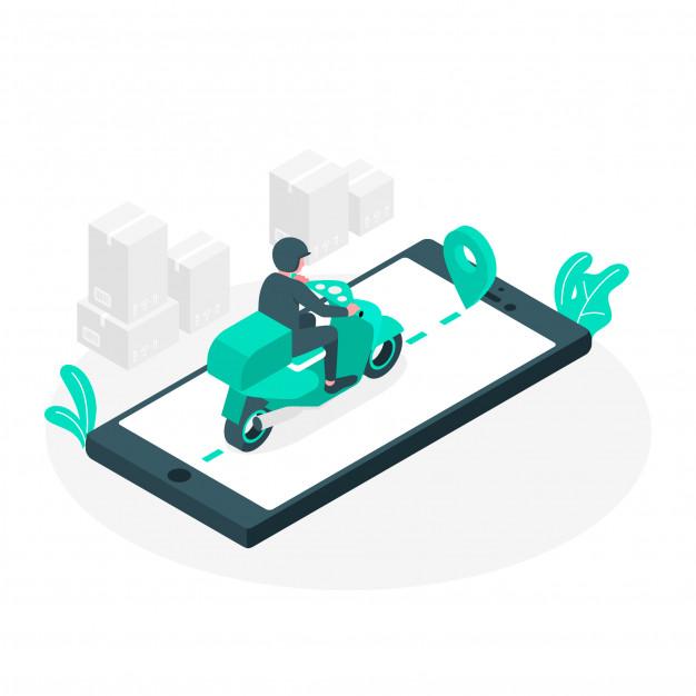 ilustração de entregador levando o pedido ao cliente através de um aplicativo