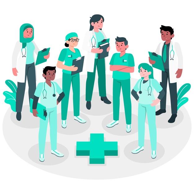 ilustrastracao de médicos e enfermeiros